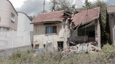 Edificio destrozado en Sarajevo